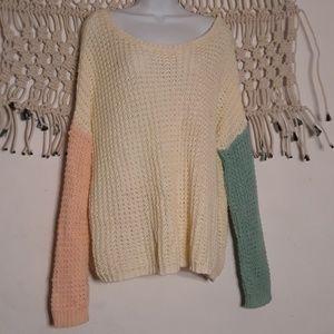 Ya los angeles cream mixed pink green knit sweater